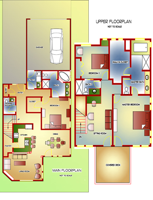 Floor Plan for Awesome View of Old Mill, River and Mountains! 3 BR, 3.5 BA, Deluxe